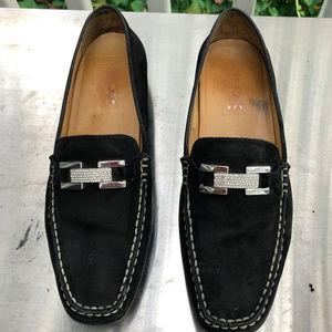 Geox Italy Suede Rhinestone Black Mocassins Loafer